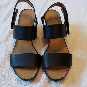 Franco Sarto black wedge sandal.